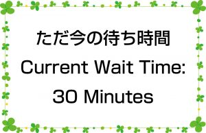 ただ今の待ち時間/Current Wait Time:30 Minutes